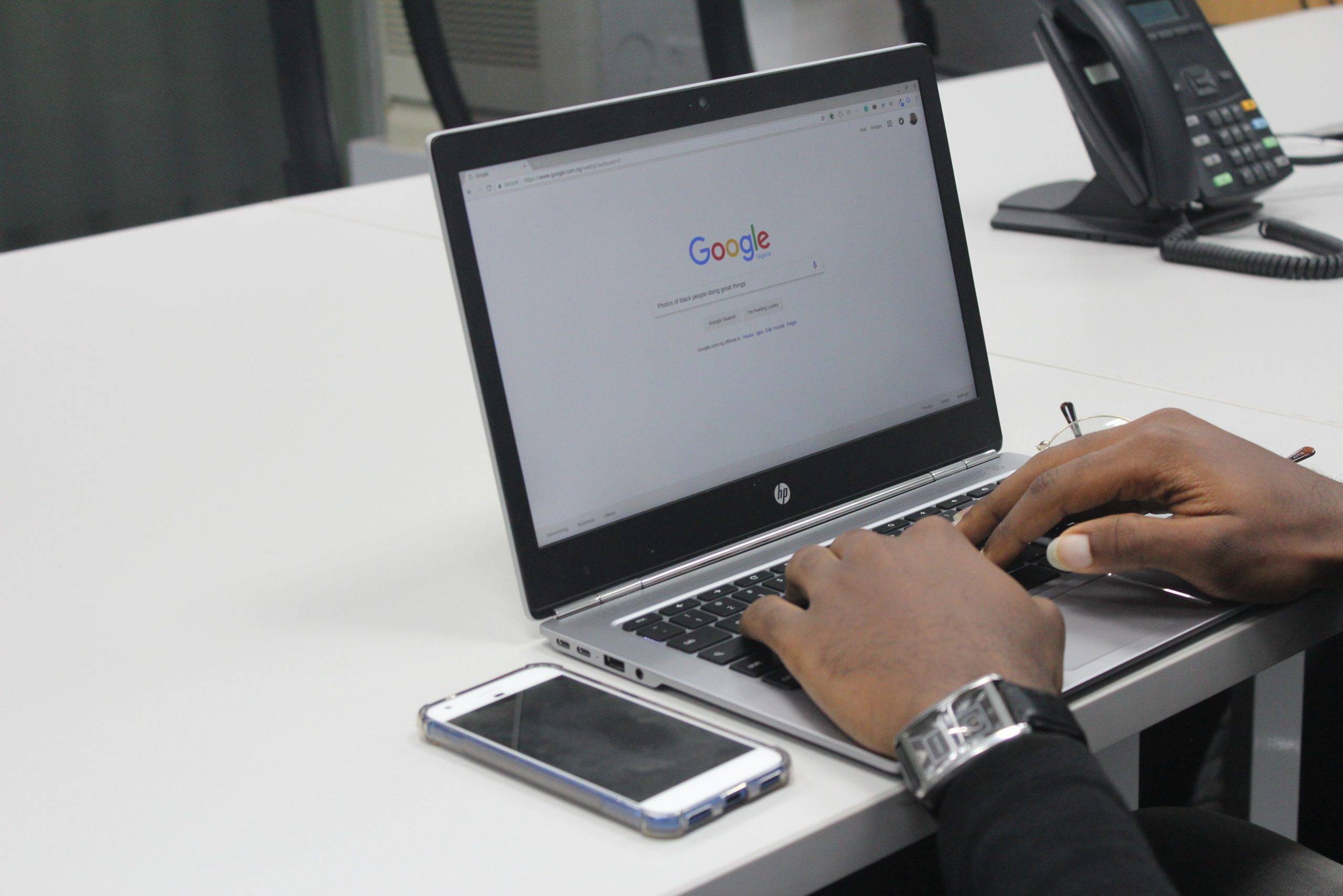 person searching on Google